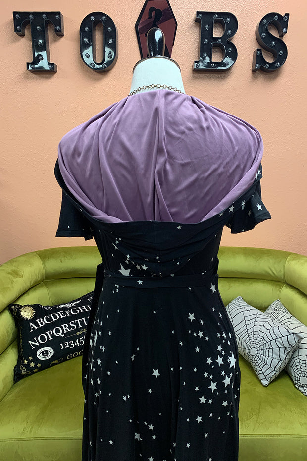 The Veronica Hooded Wrap Dress -  Stars with Lavender Lining by TOBS LIMITED EDITION (4320544587831)