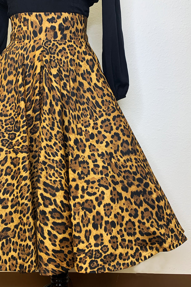 Leopard Print Circle Skirt by The Oblong Box Shop