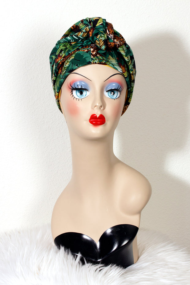 Swirling Turban in Lounging Leopard by TOBS