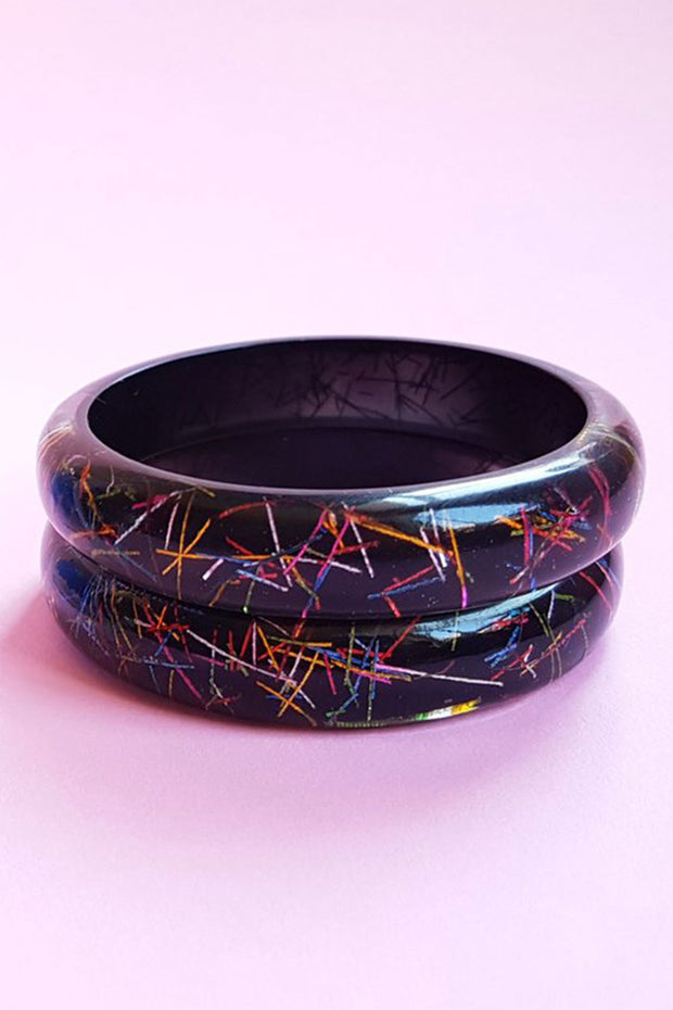 Maiden Size Grace Lucite Confetti Bangle Black & Multi
