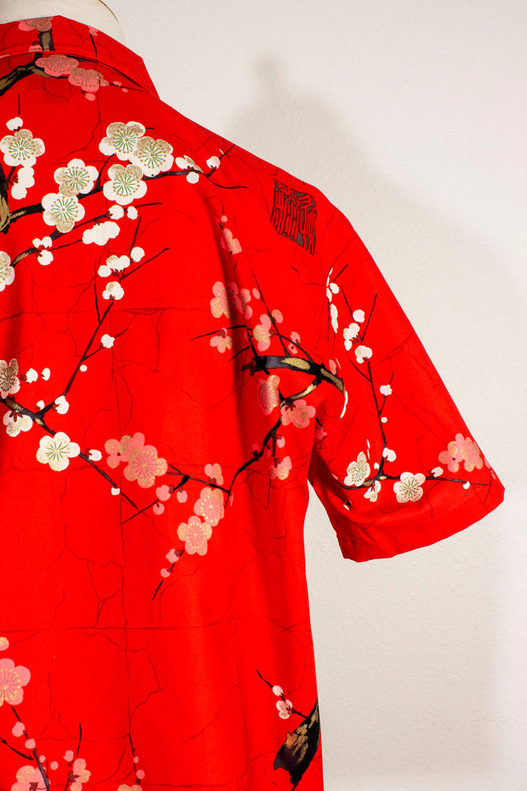 Merry Cherry Blossom Red Men's Button Down Shirt