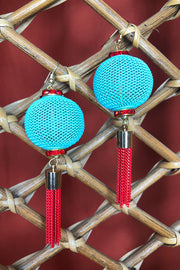 Tee-Ki Togs Mint and Red Lantern Earrings with Metal Tassels Varying Lengths