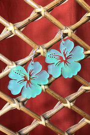 Tee-Ki Togs Hibiscus Flower Frosted Aqua Blue Earrings