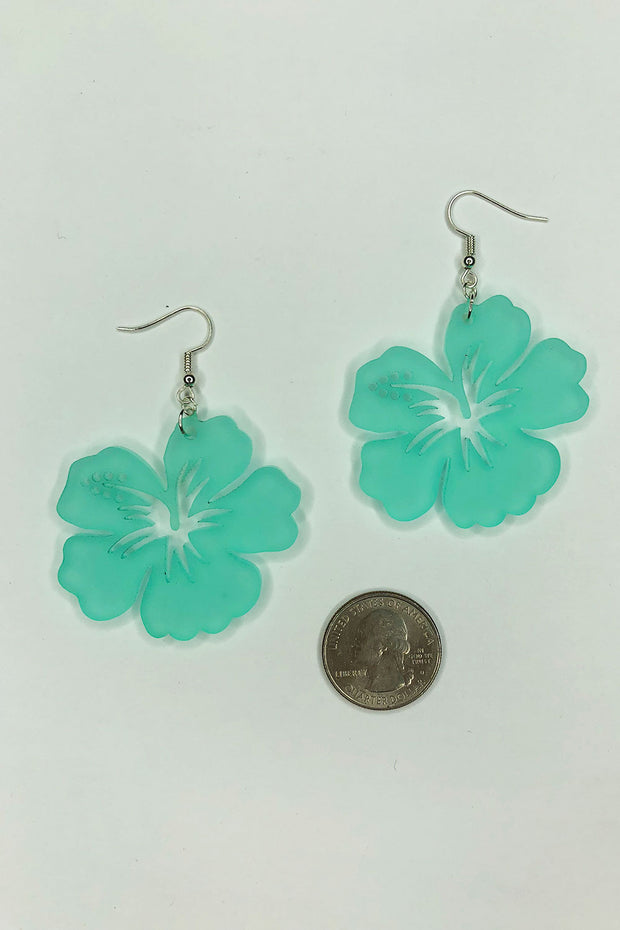 Tee-Ki Togs Hibiscus Flower Frosted Hibiscus Earrings - Aqua or Coral