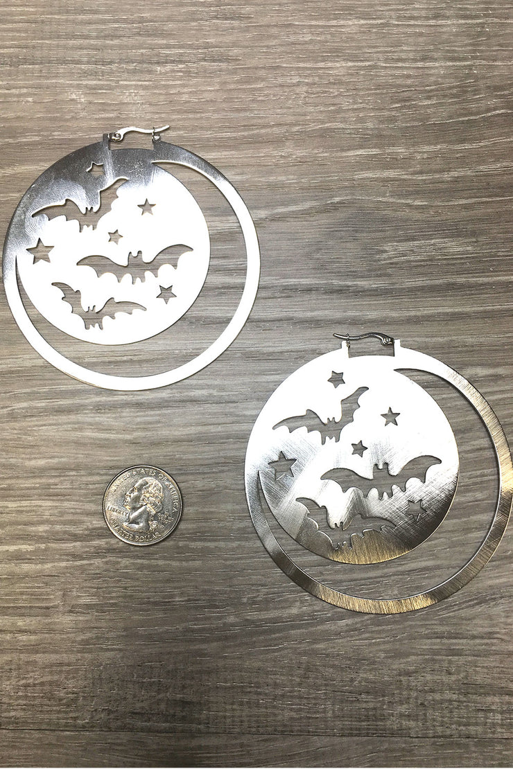 Super Moon & Bat Earrings (1399412228151)