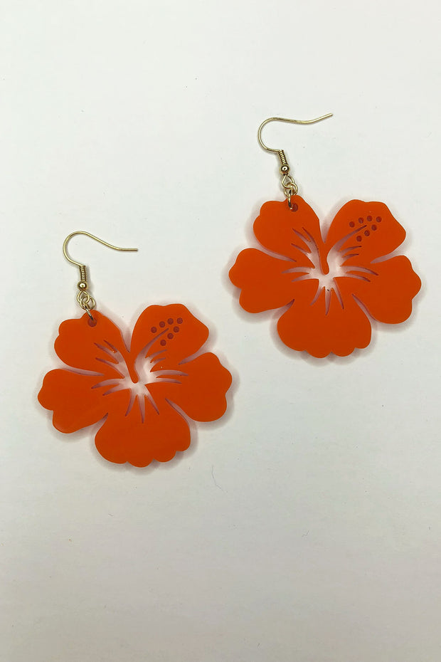 Tee-Ki Togs Hibiscus Flower Opaque Sunset Orange Earrings