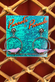 Meteor Jewelry Co. Parrots on Parade Earrings Purple Parrot Silver and Gold