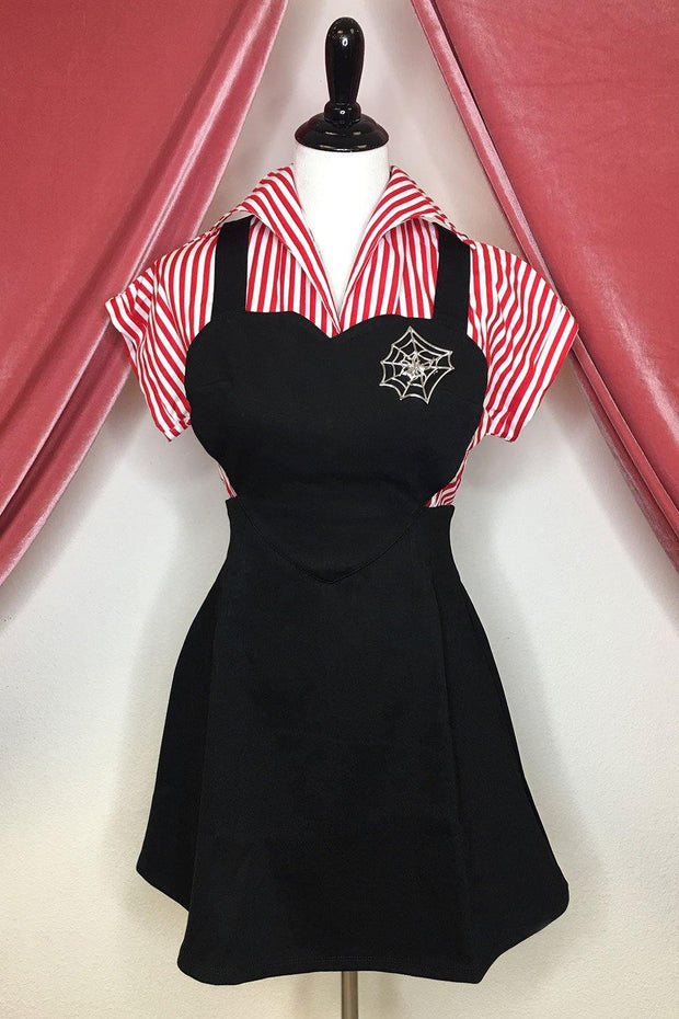 Black Heart Pinafore Mini Dress Final Sale
