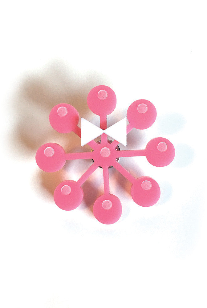 Kitschy Christmas Ornament Brooch Pink