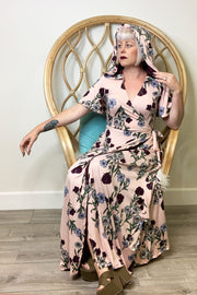 The Veronica Hooded Wrap Dress in Pink Wildflowers