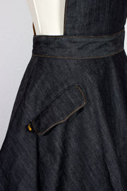 "TOBS Original ""Thread & Mitre"" Collection Denim Overall Flare Skirt Jumper with Leather Straps"