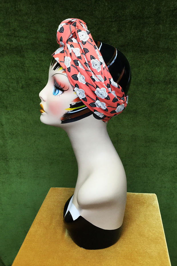 Swirling Turban Retro Red Rose
