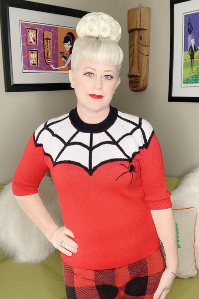 Red Spiderweb Sweater - The Oblong Box Shop