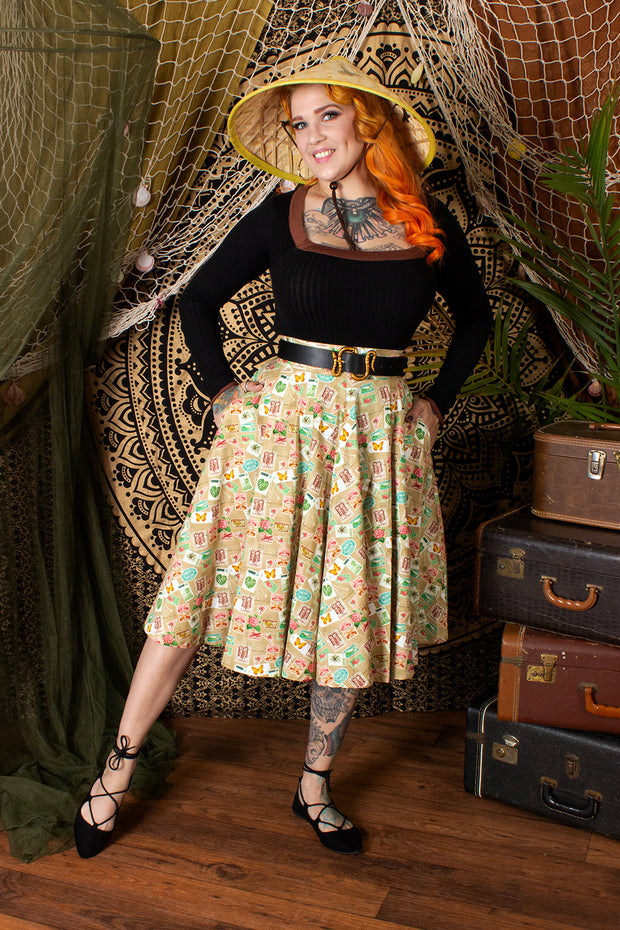 Safari Stamps Circle Skirt by The Oblong Box Shop