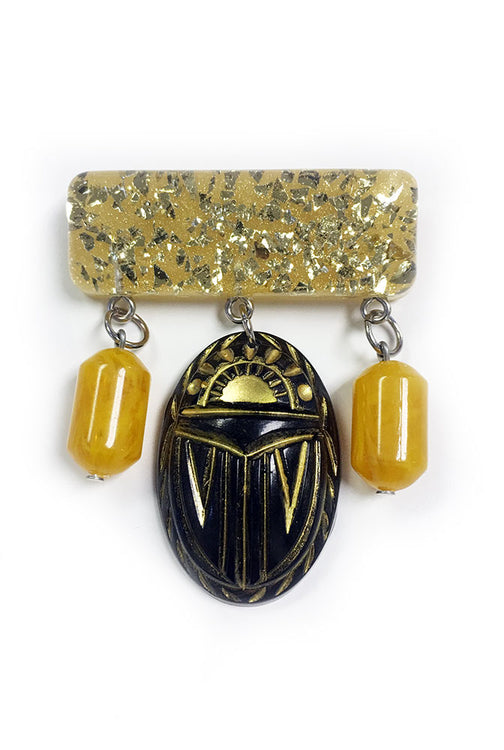 Gold Scarab Brooch by Summer Blue Jewelry