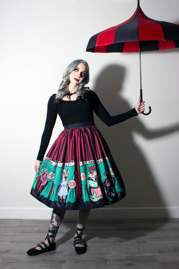 Sideshow Sweeties X Coppertop Ink Collab Gathered Skirt