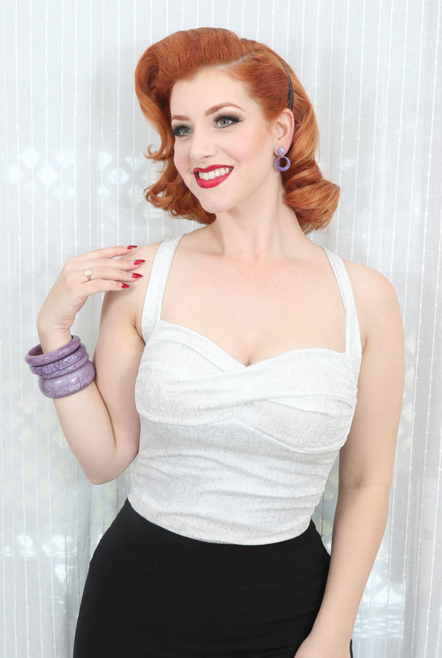 Double Cross Pinup Top in White Starburst