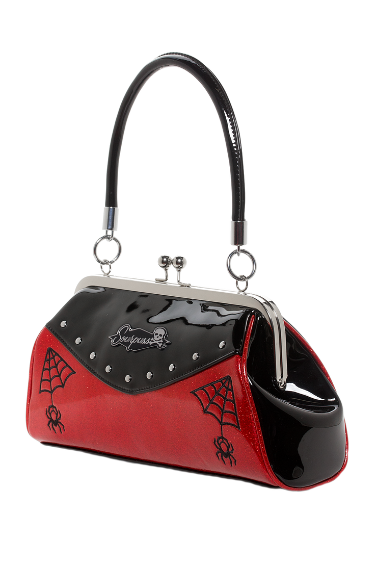 Webbed Widow Purse - Red/Black