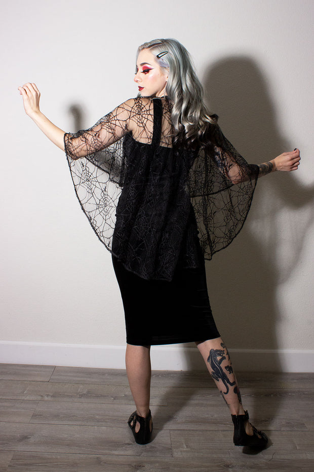 Salem Black Velvet Double Cross Dress With Matching Spiderweb Cape (1649372692535)