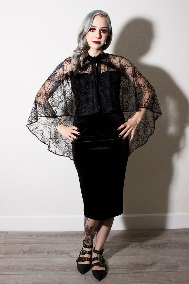 Salem Black Velvet Double Cross Dress With Matching Spiderweb Cape