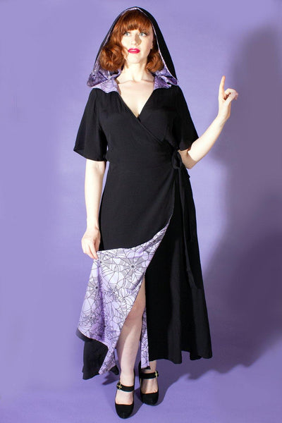 The Veronica Hooded Wrap Dress -  Black with Lavender Spiderweb Lining - The Oblong Box Shop