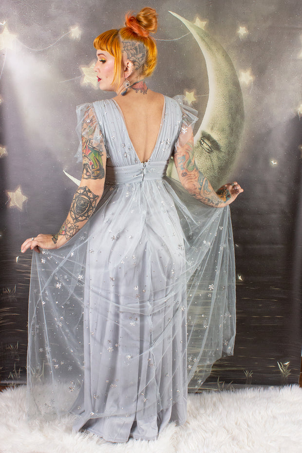 Star Gazer Maxi Dress Grey and Silver