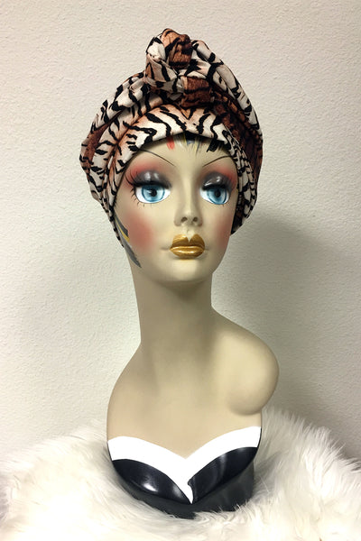 Swirling Turban in Tame Me Tiger Print by TOBS