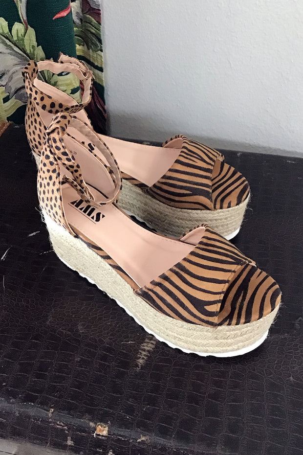 Tiger & Cheetah Espadrille Platforms