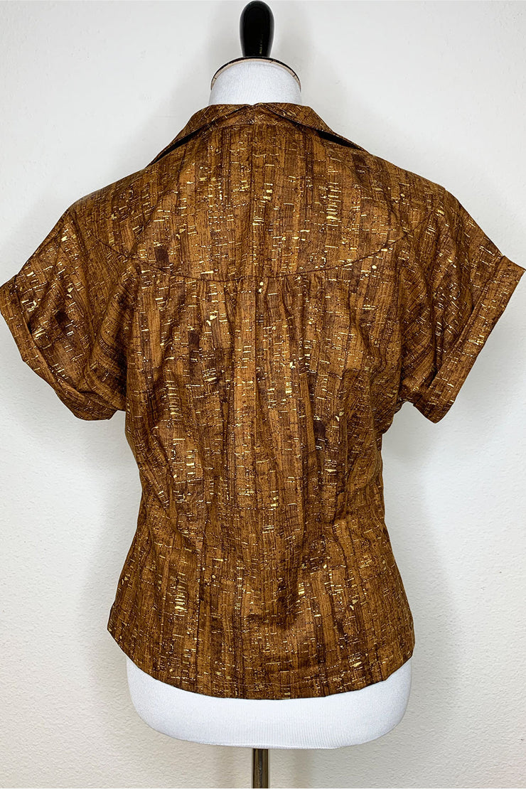 Un-Corked Big Collar Button Up Top Brown