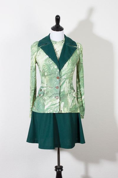Jersey Vintage Dress and Jacket Emerald Green 70s Suit (695231610935)