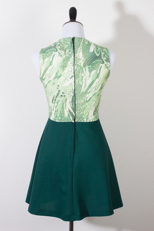 Jersey Vintage Dress and Jacket Emerald Green 70s Suit