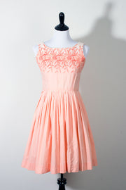 Peach Pink Embroidered Vintage Cotton Dress