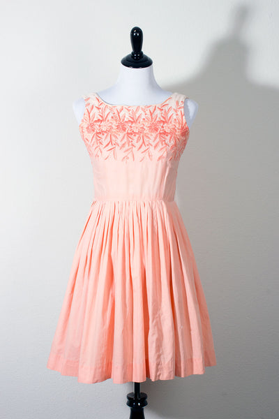 Peach Pink Embroidered Vintage Cotton Dress (695063642167)