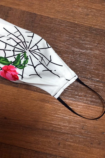 Spiderweb and Roses White Adult Face Mask