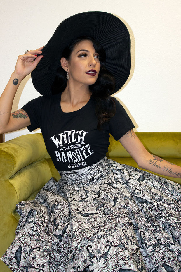 Witch In The Streets, Banshee In The Sheets Fitted Ladies T by Horror Junkie