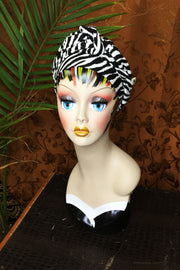 Swirling Turban Zebra Print