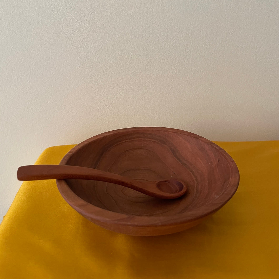 CHILD'S BOWL AND SPOON SET, CHERRY WOOD