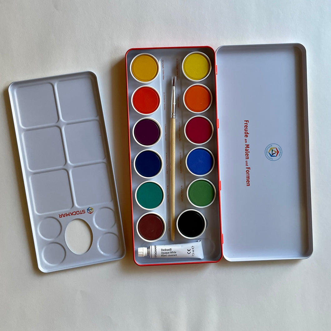STOCKMAR OPAQUE 12 WATER COLORS IN TIN