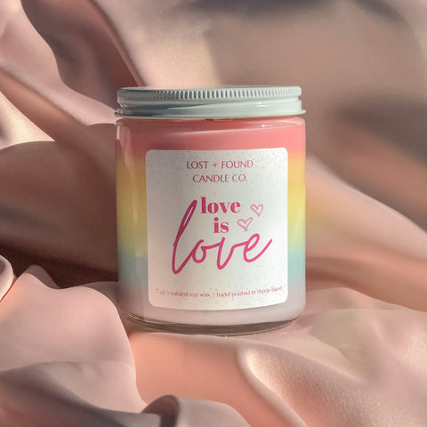 Lost and Found Candle Co. Love Is Love Pride Month candle