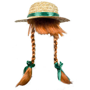 Anne Wearable Straw Hat with Braids Anne of Green Gables