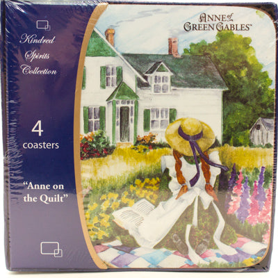 Anne on the Quilt Coaster will make a wonderful accent to your kitchen.  Made of cork. Comes in a set of 4.Anne of green gables