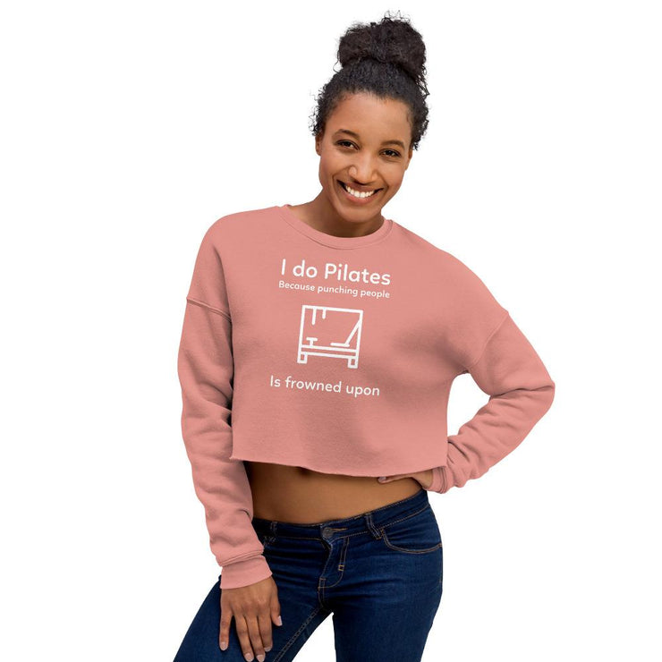Punching People Crop Sweatshirt - Pilateskatt