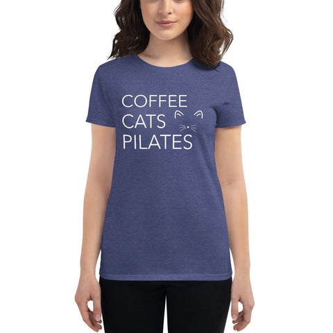 Cats and Coffee short sleeve t-shirt - Pilateskatt