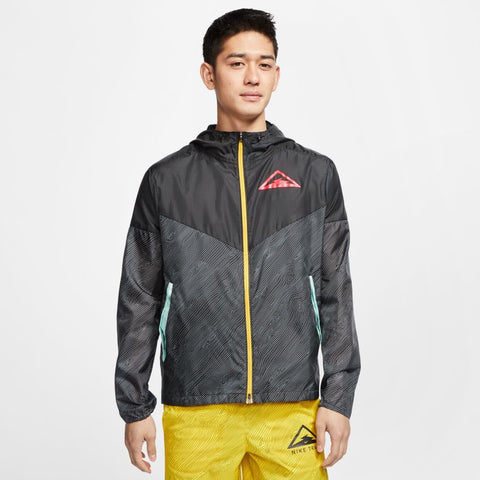 Nike M Hooded Trail Runner Jacket (Black/Laser Crimson)