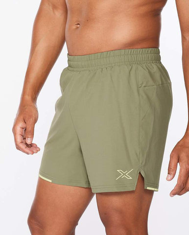 "2XU M Aero 5"" Run Short (Alpine/Kiwi Reflective)"