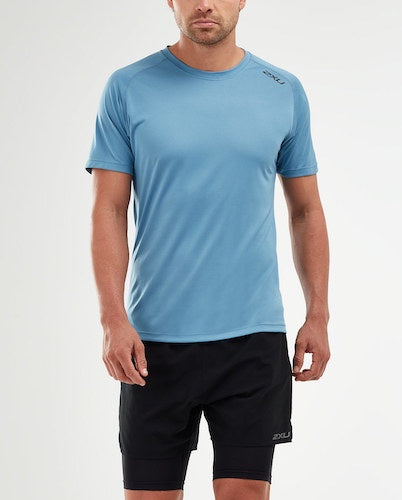 2XU M Ghost Short Sleeve T-Shirt (Denim/Black Reflective)
