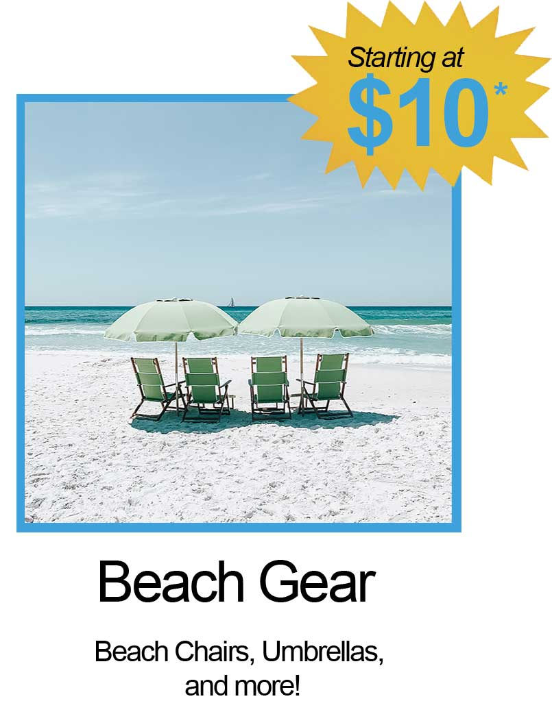 Beach Chairs, Umbrellas and More!