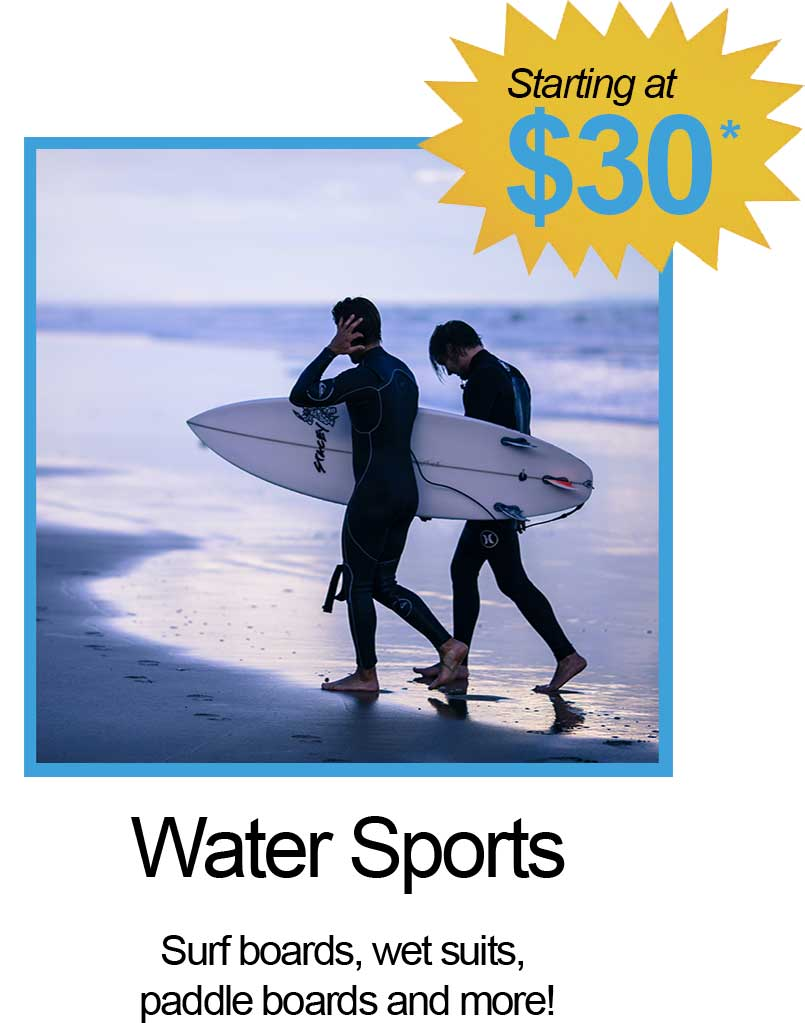Surf Boards, wet suits, paddle boards and More!