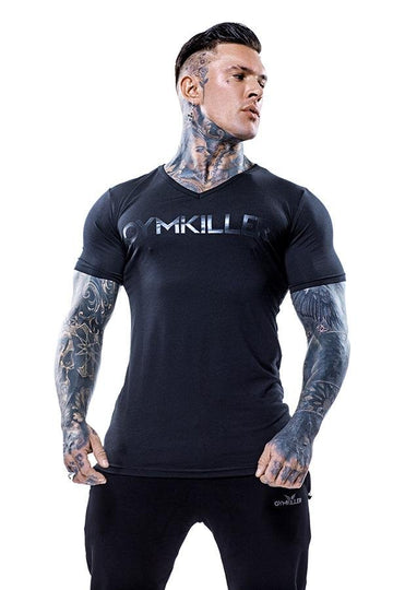 ANDREW V-Neck Bamboo T-Shirt Black on Black - GYMKILLER