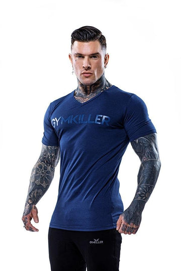 ANDREW V-Neck Bamboo T-Shirt Blue on Blue - GYMKILLER